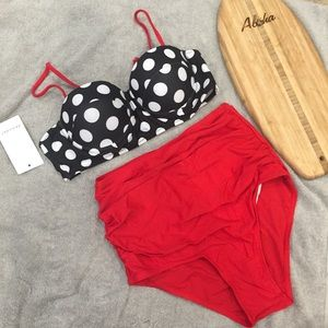 Other - SMALL Red Vintage High Waisted Bikini